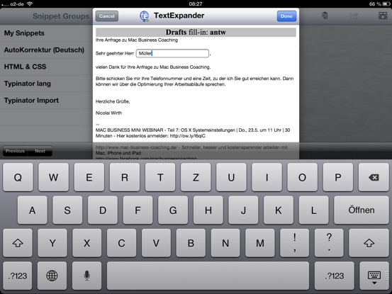 TextExpander touch fill in Snippets