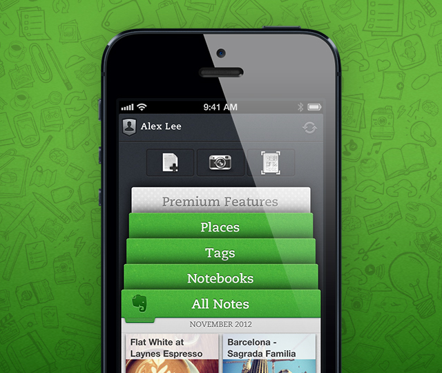 Evernote 5 iOS Screen