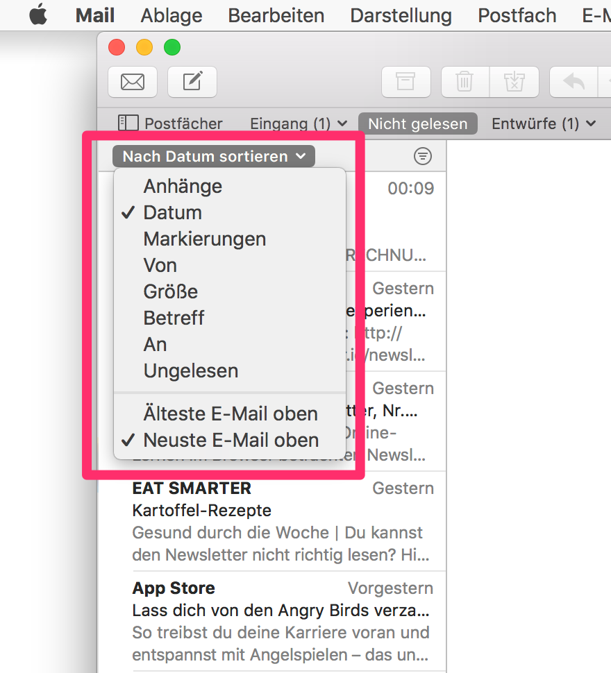 Mac Business Coaching - Sortierung der E-Mail-Listen in Postfächern ...