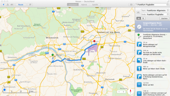 Maps in OS X Mavericks