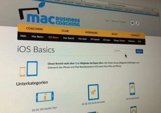 Neue Suche in allen Inhalten der Mac Business Coaching Website (Blog und Wissensdatenbank Connect)